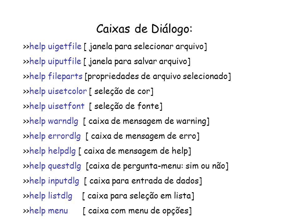 Caixas de Diálogo: >>help uigetfile [ janela para selecionar arquivo] >>help uiputfile [ janela para salvar arquivo]
